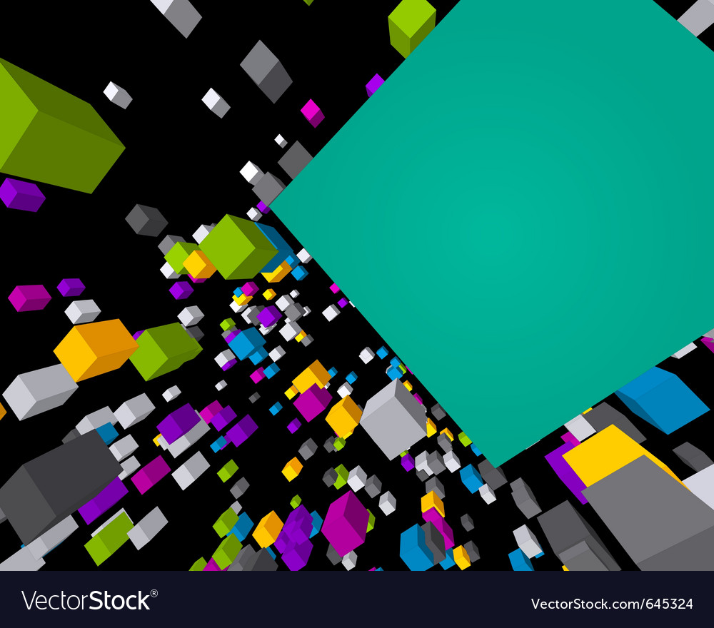 Fly colorful 3d cubes background vector | Price: 1 Credit (USD $1)