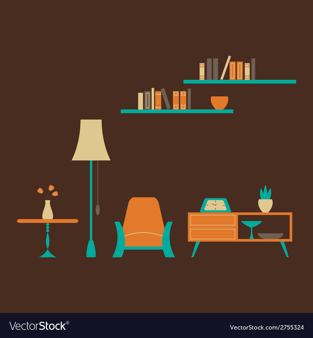 Furniture set over brown vector | Price: 1 Credit (USD $1)