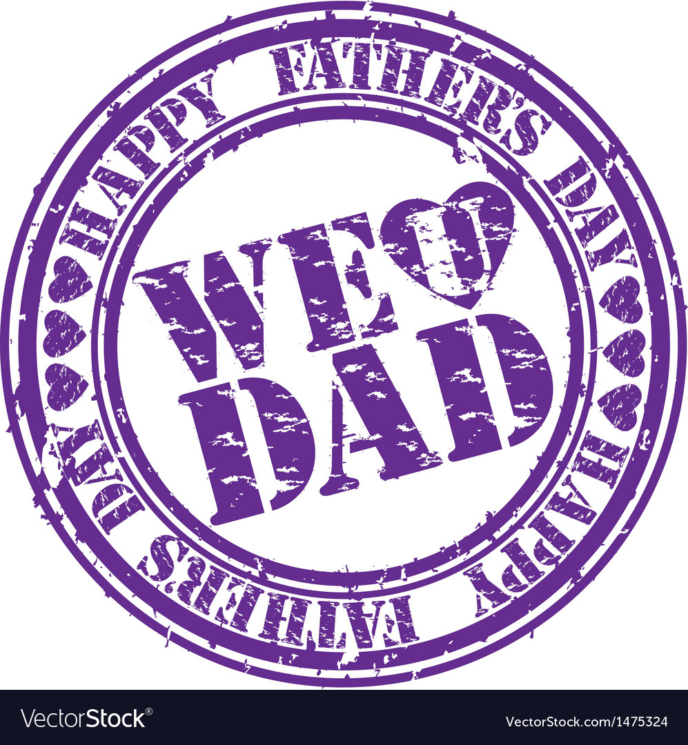 Happy fathers day we love you dad stamp vector | Price: 1 Credit (USD $1)