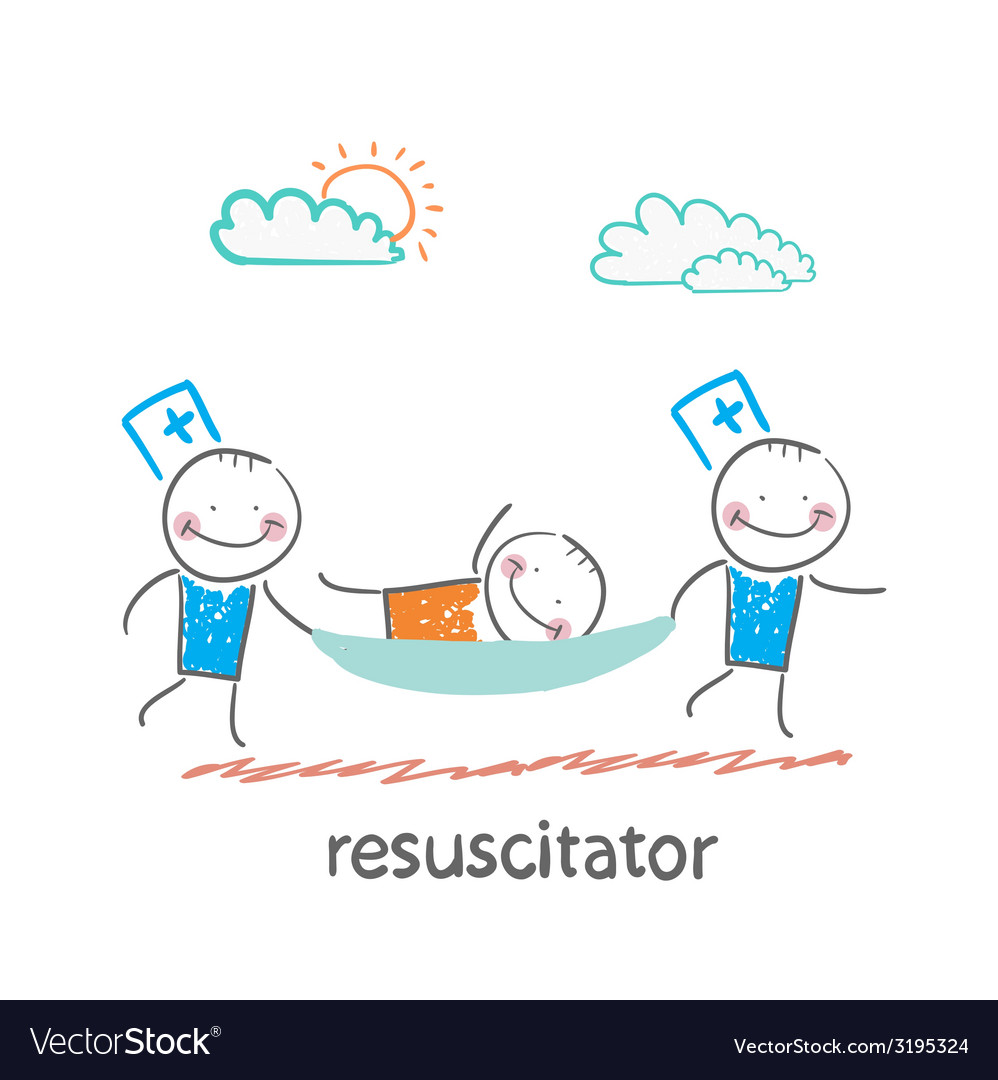 Resuscitator carry on a stretcher patient vector | Price: 1 Credit (USD $1)