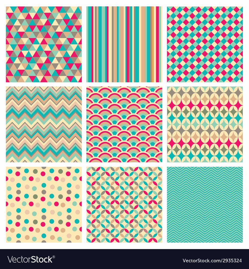 Seamless retro geometric hipster background set vector | Price: 1 Credit (USD $1)