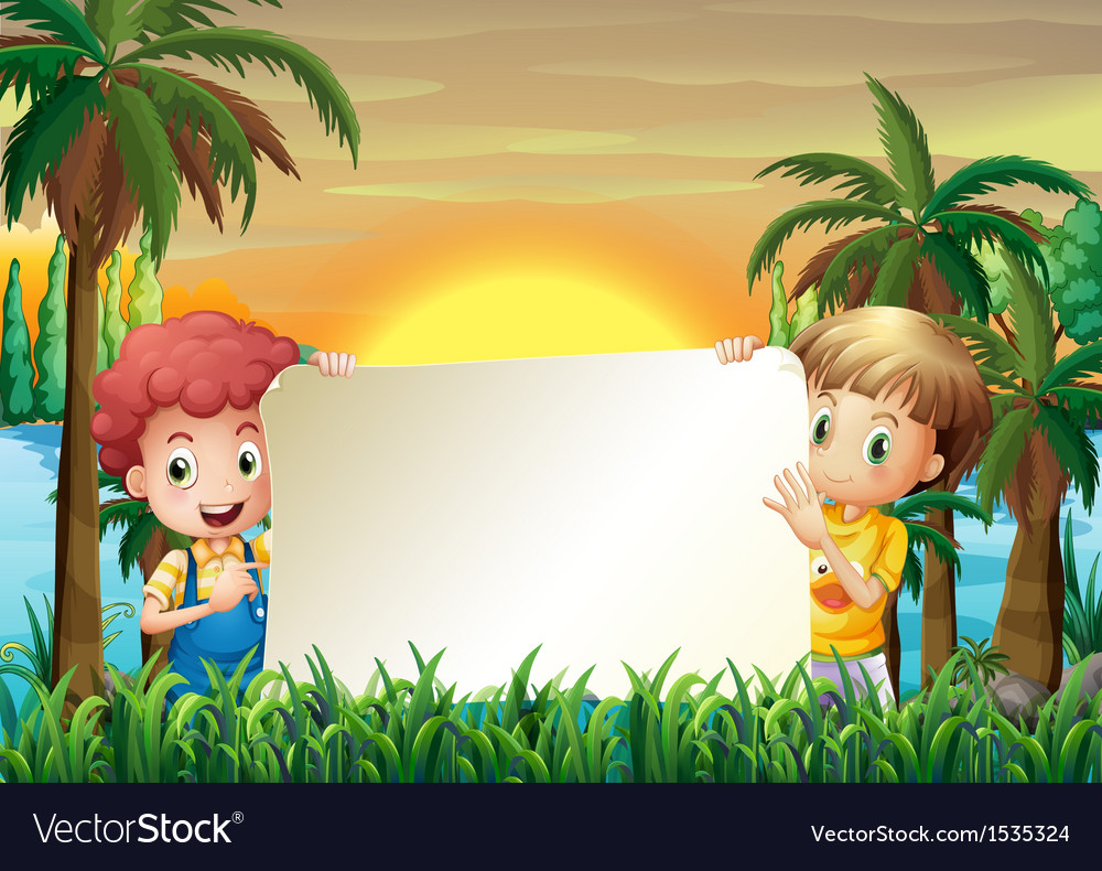 Two kids at the riverbank holding an empty signage vector | Price: 1 Credit (USD $1)