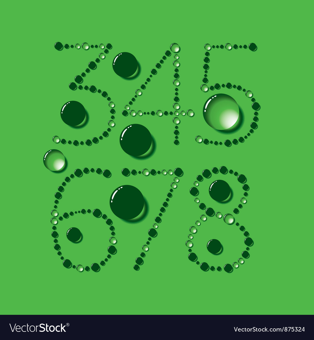 Water drop letters on green new 10 vector | Price: 1 Credit (USD $1)