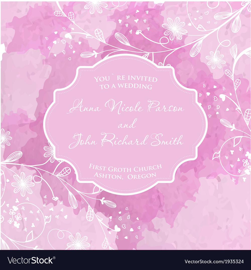 Wedding card on the grunge paper background vector | Price: 1 Credit (USD $1)
