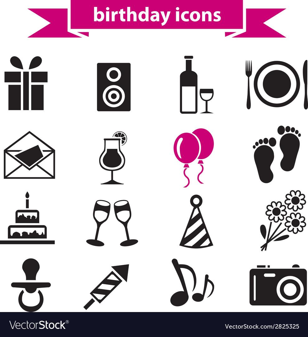 Birthday icons vector | Price: 1 Credit (USD $1)