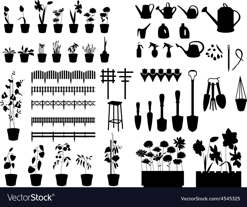 Black silhouettes of gardening tools plants vector | Price: 1 Credit (USD $1)