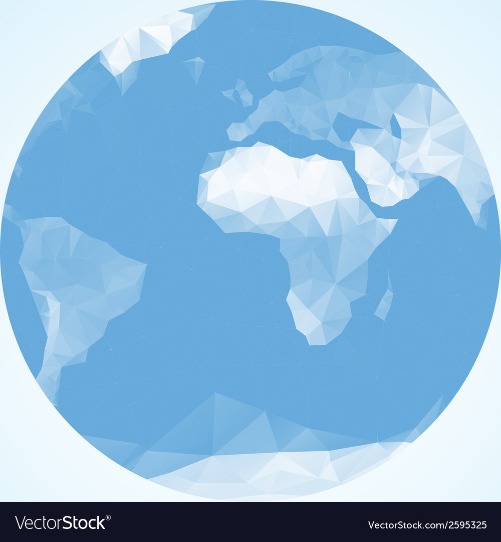 Blue earth globe made with triangles vector | Price: 1 Credit (USD $1)