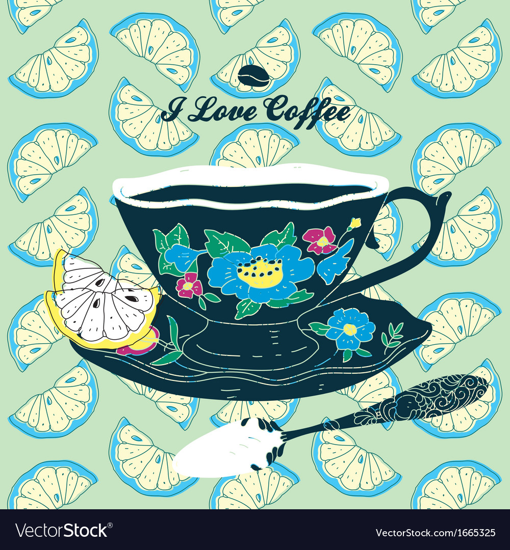 Elegant cup of coffee card vector | Price: 1 Credit (USD $1)
