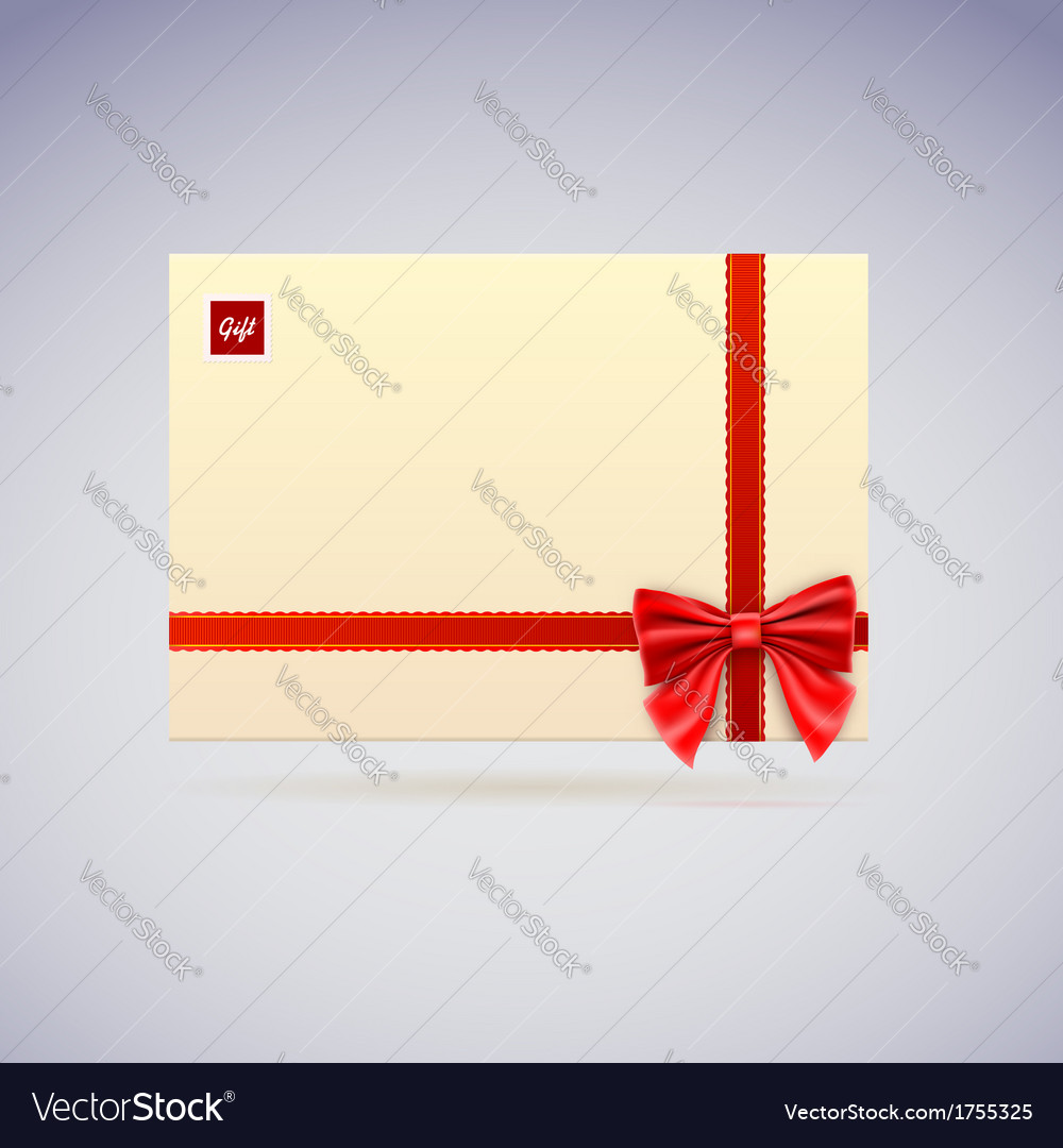 Envelope with bow gift vector | Price: 1 Credit (USD $1)