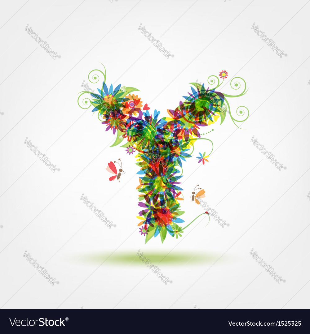 Floral letter for your design vector   Price: 1 Credit (USD $1)