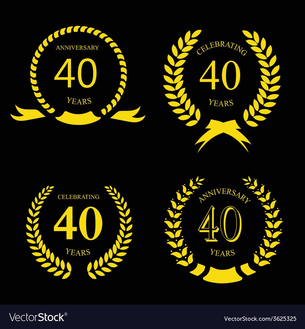 Forty years anniversary laurel gold wreath set vector | Price: 1 Credit (USD $1)