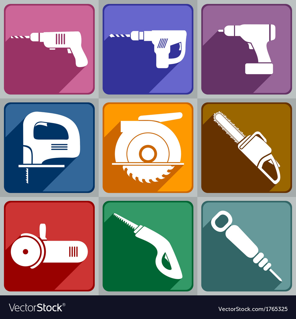 Icons of the electric tools vector | Price: 1 Credit (USD $1)