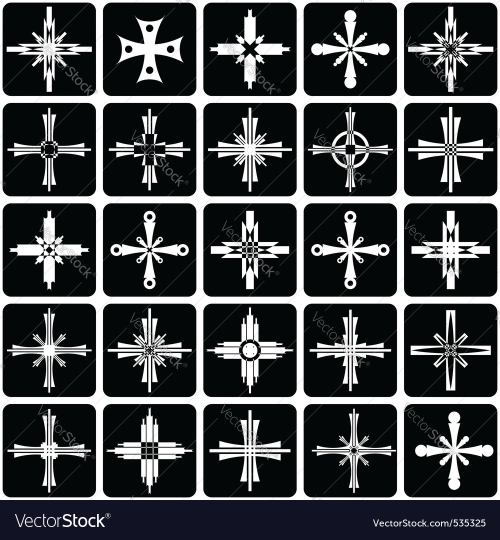 Icons with crosses design vector | Price: 1 Credit (USD $1)