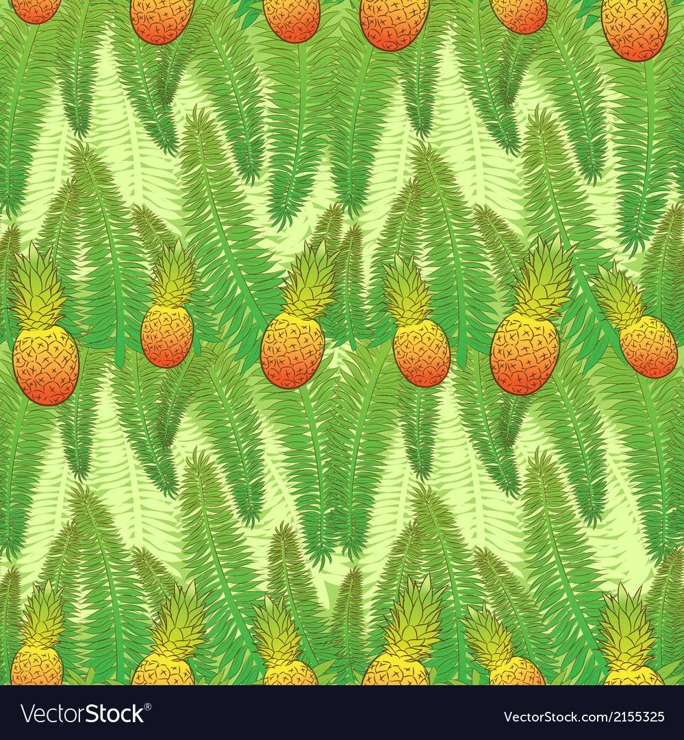 Seamless green pattern with palm leaves and vector | Price: 1 Credit (USD $1)