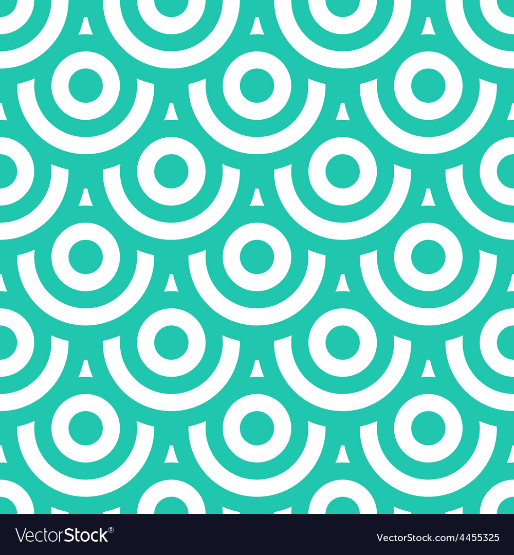 Seamless pattern with circles blue green and white vector