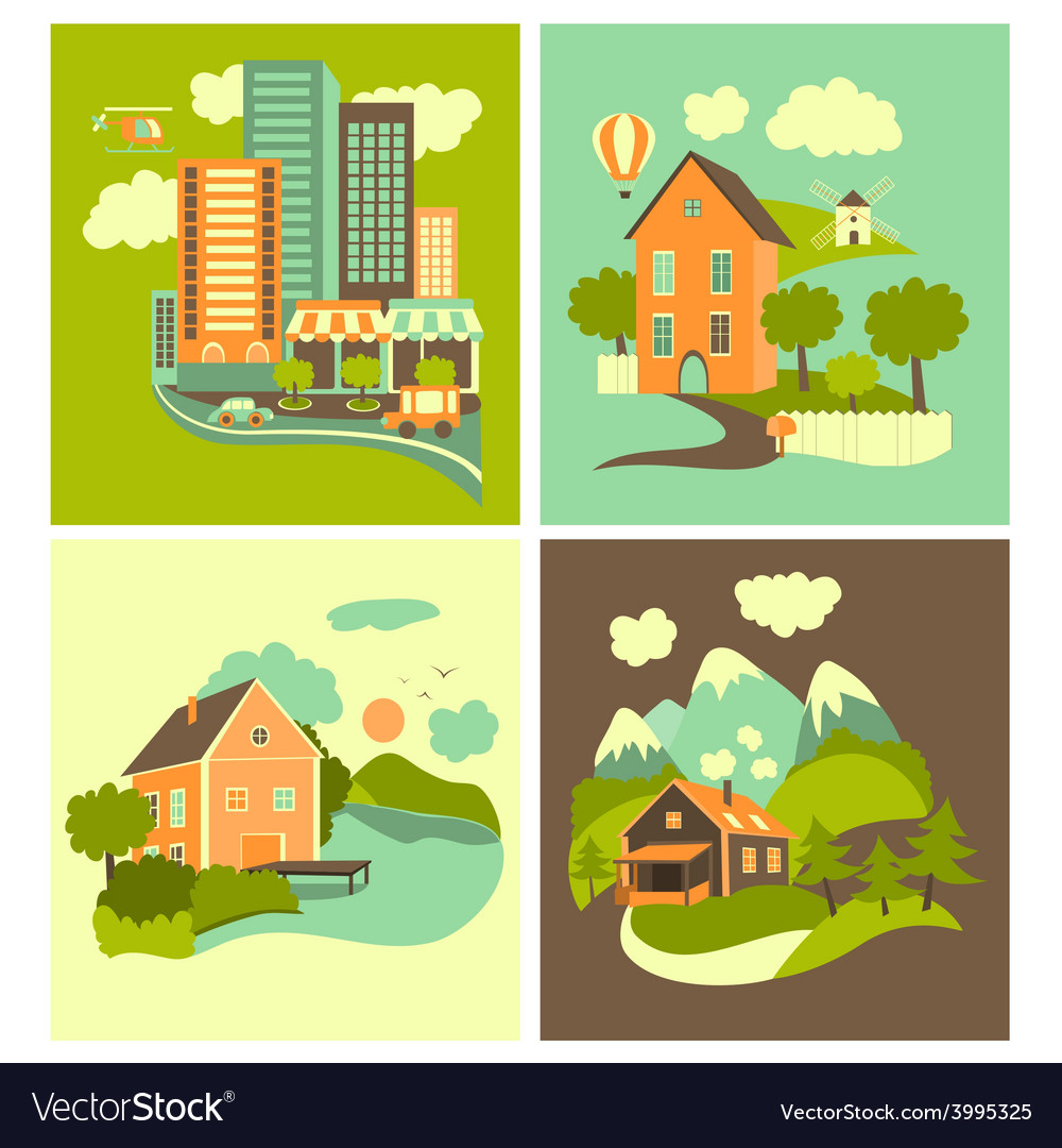 Set of homes vector | Price: 1 Credit (USD $1)