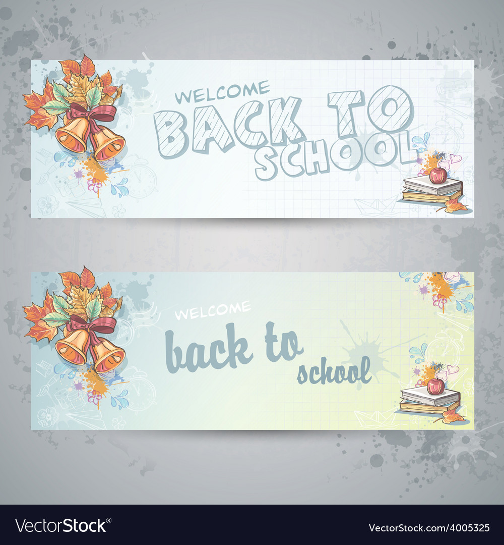 Set with two horizontal banners with school books vector | Price: 1 Credit (USD $1)