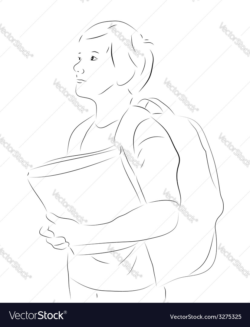 Sketchy boy with books vector | Price: 1 Credit (USD $1)