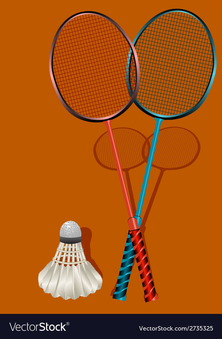 Two badminton rackets and shuttlecock vector | Price: 1 Credit (USD $1)