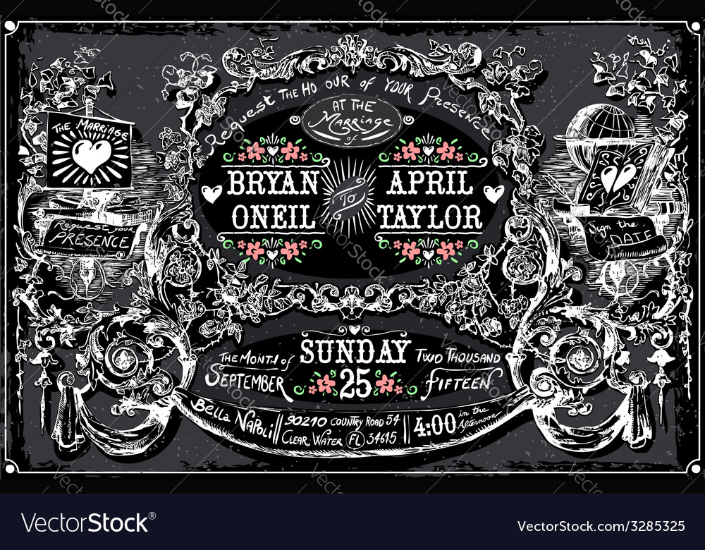 Vintage wedding hand drawn labels on blackboard vector | Price: 3 Credit (USD $3)