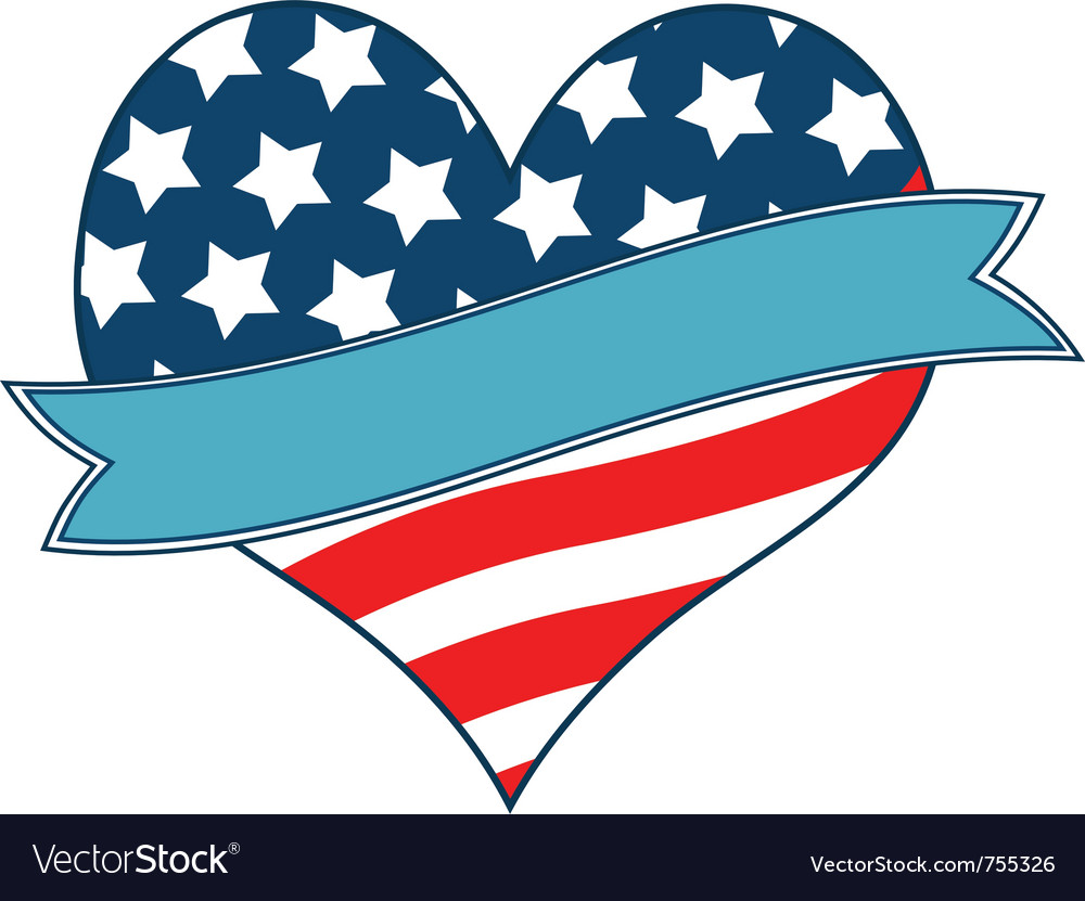 American flag heart vector | Price: 1 Credit (USD $1)
