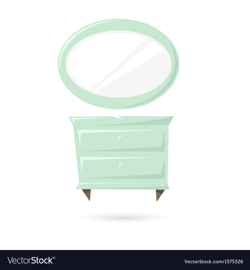 Commode and mirror isolated on a white backgrounds vector | Price: 1 Credit (USD $1)