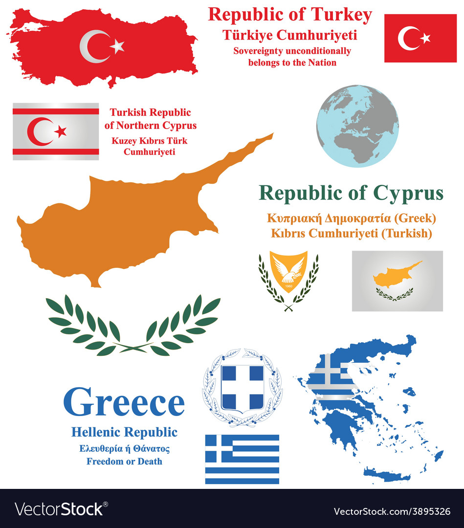 Cyprus turkey and greece vector | Price: 1 Credit (USD $1)