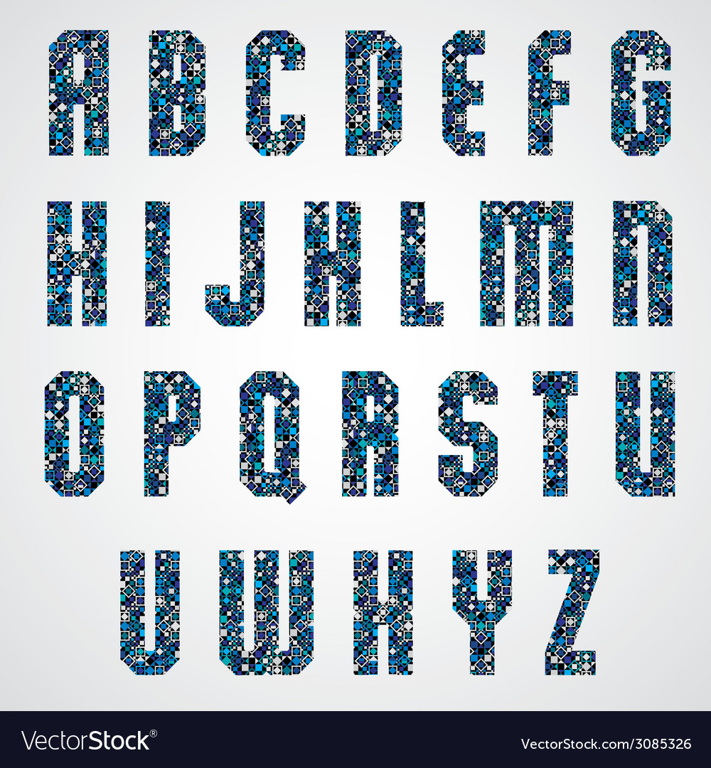 Geometric letters decorated with blue pixel vector   Price: 1 Credit (USD $1)