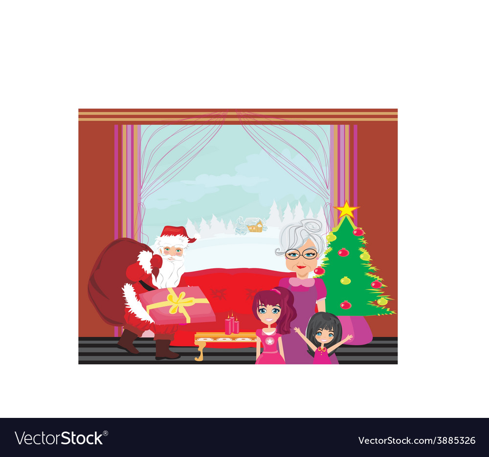 Grandmother with granddaughters waiting for santa vector | Price: 1 Credit (USD $1)
