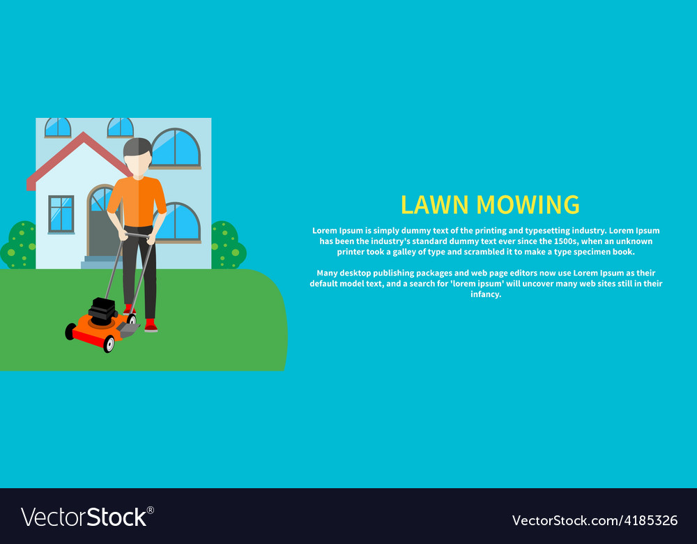 Man moves with lawnmower vector | Price: 1 Credit (USD $1)