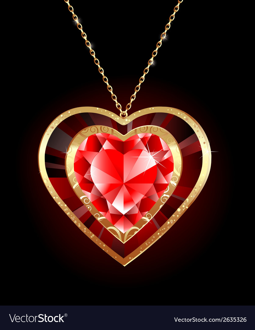 Ruby heart on a gold chain vector | Price: 1 Credit (USD $1)