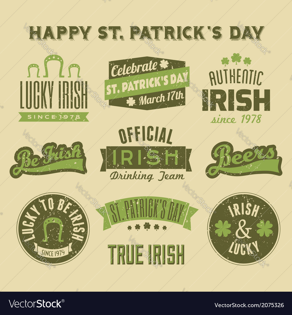 Saint patricks day vintage green design elements vector | Price: 1 Credit (USD $1)