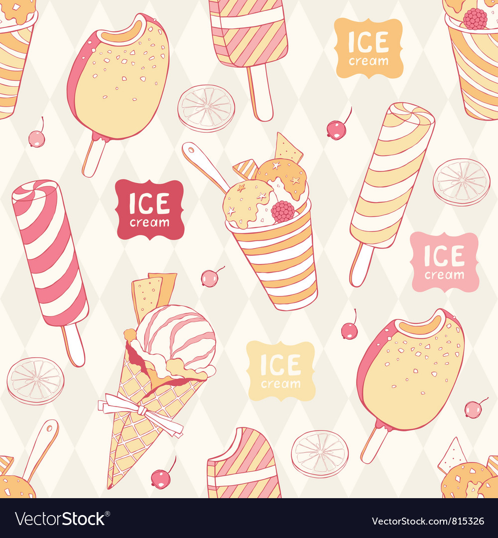 Seamless icecream pattern vector