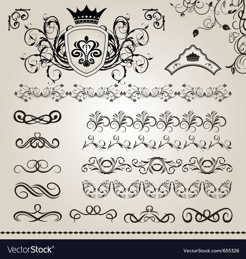 Set floral design elements vector | Price: 1 Credit (USD $1)