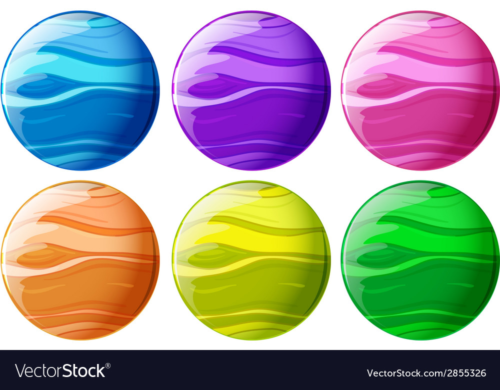 Six colourful balls vector | Price: 1 Credit (USD $1)