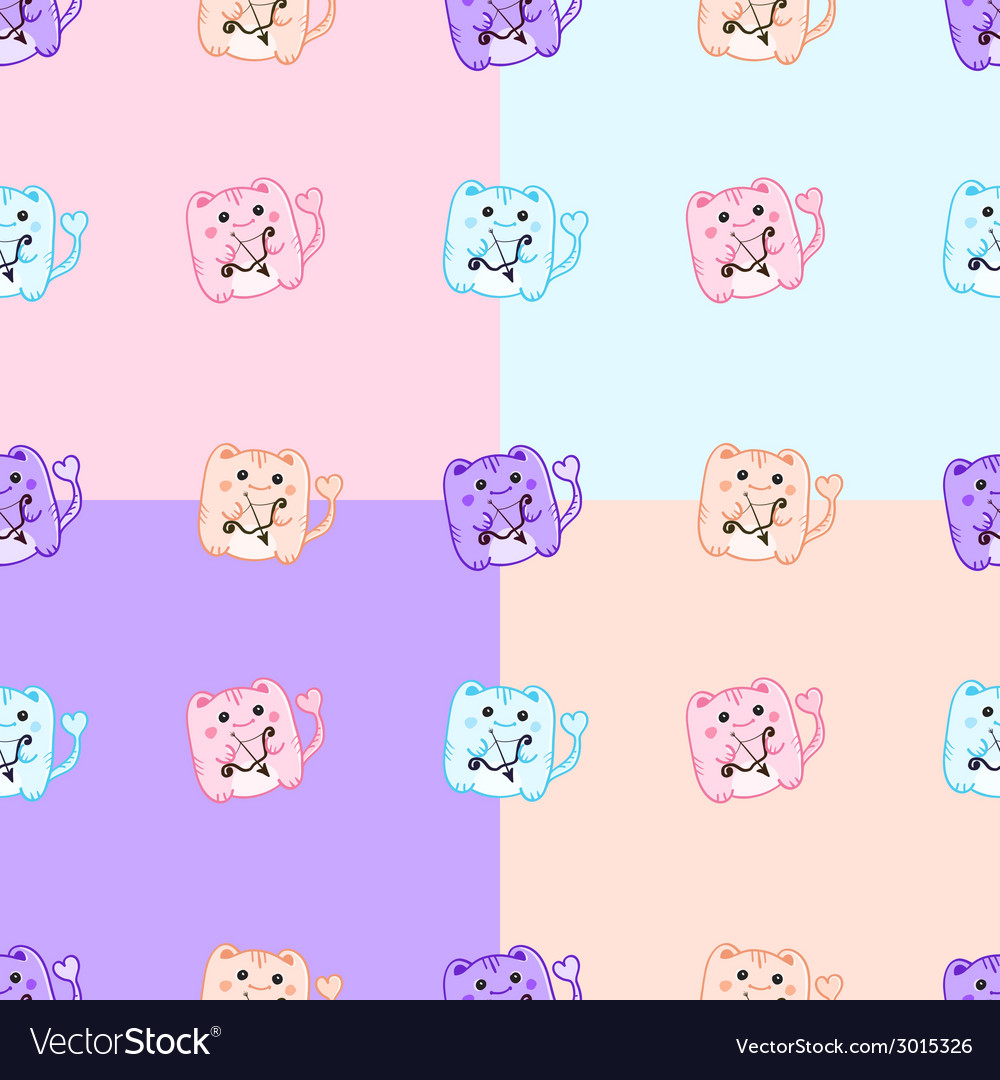 St valentine day cute pink cupid monsters seamless vector | Price: 1 Credit (USD $1)