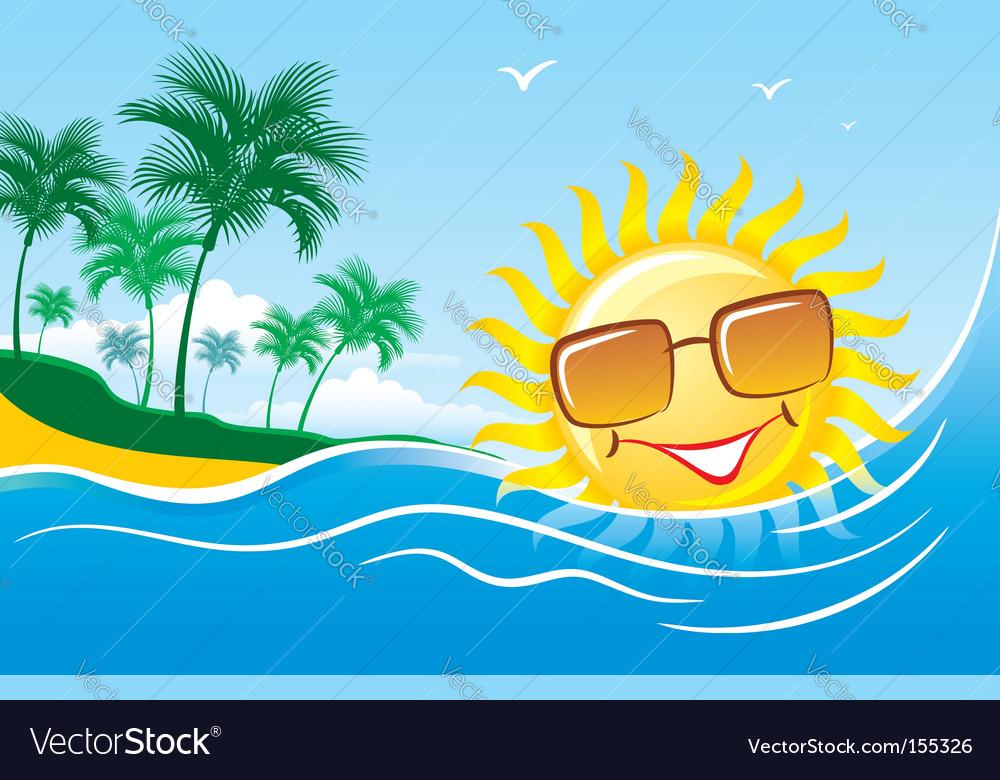 Tropical marine landscape vector   Price: 1 Credit (USD $1)