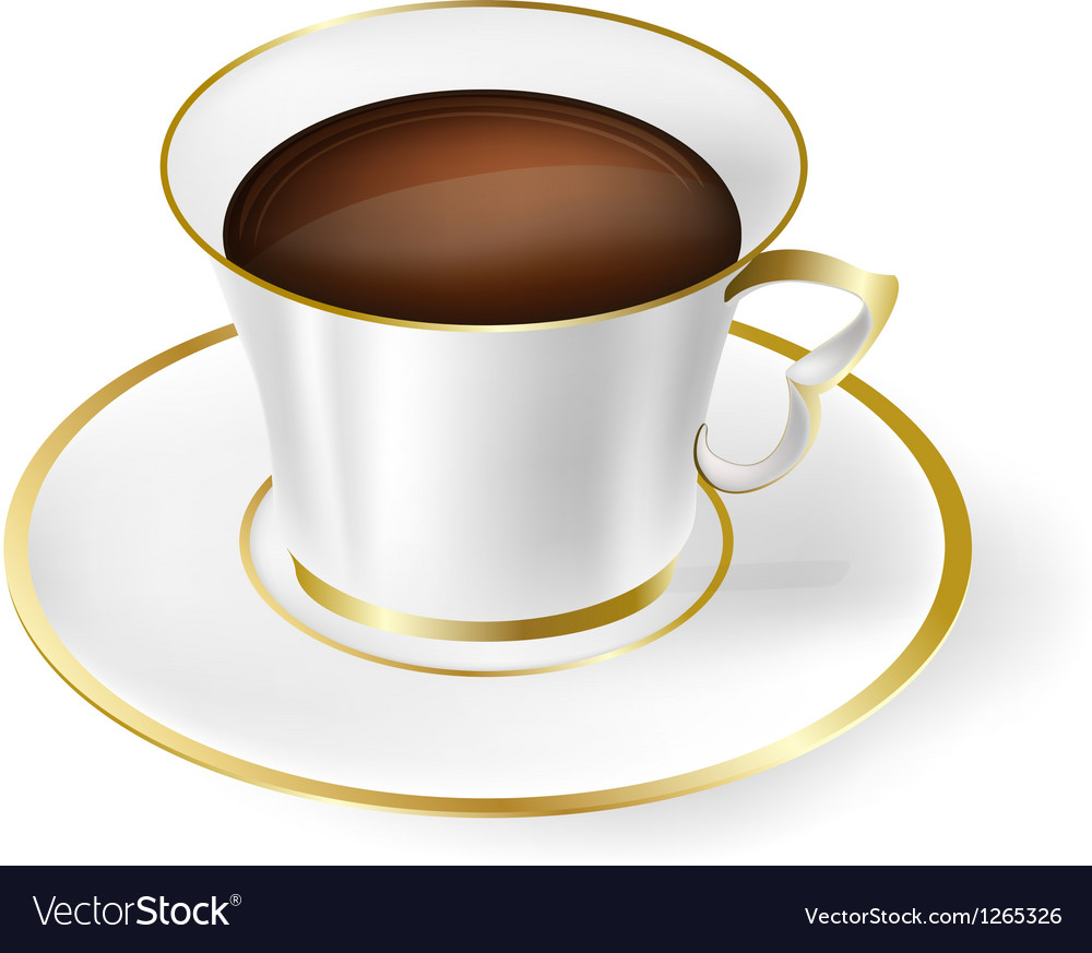White cup with black coffee vector | Price: 1 Credit (USD $1)