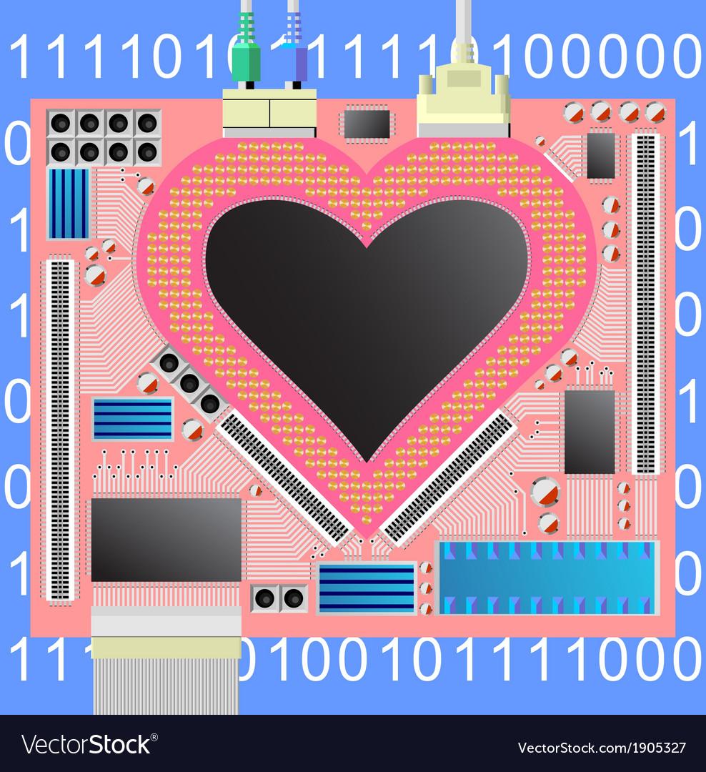 Computer heart vector | Price: 1 Credit (USD $1)