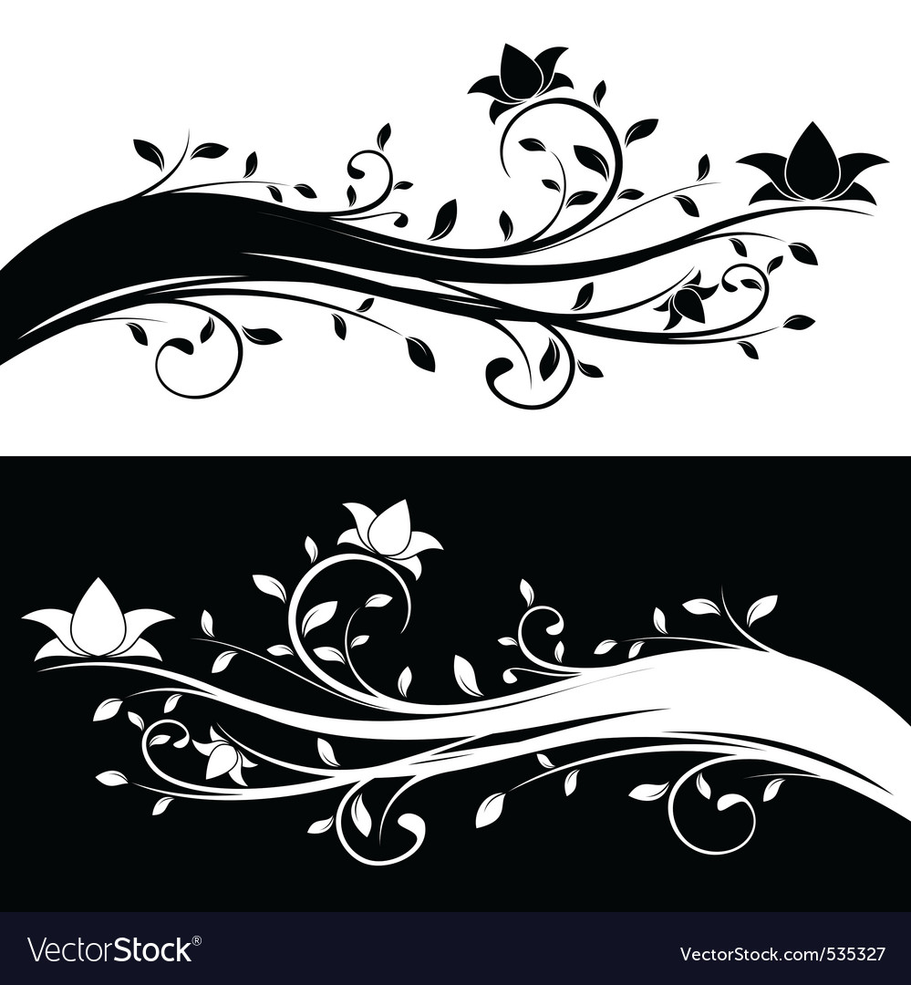 Floral decoration black and white variations vector | Price: 1 Credit (USD $1)