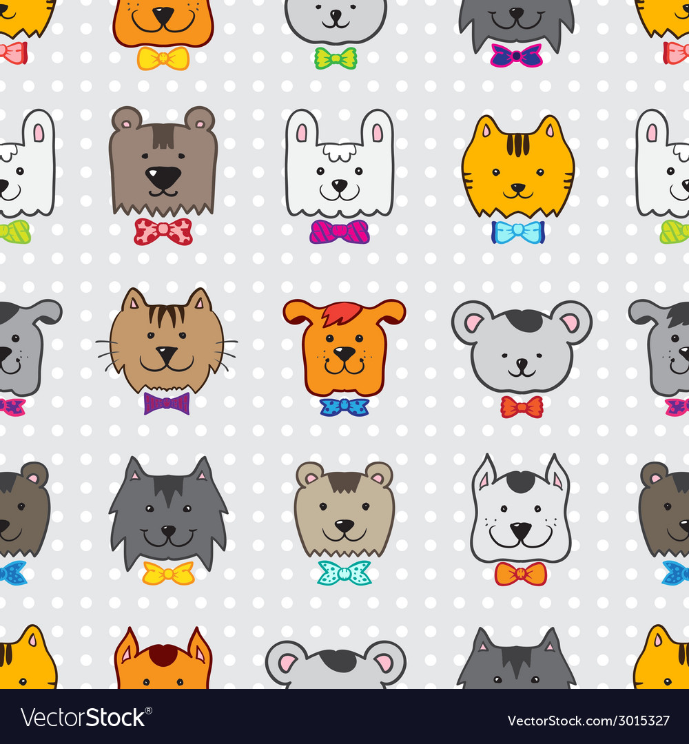 Hand drawn doodle cartoon animal heads seamless vector | Price: 1 Credit (USD $1)