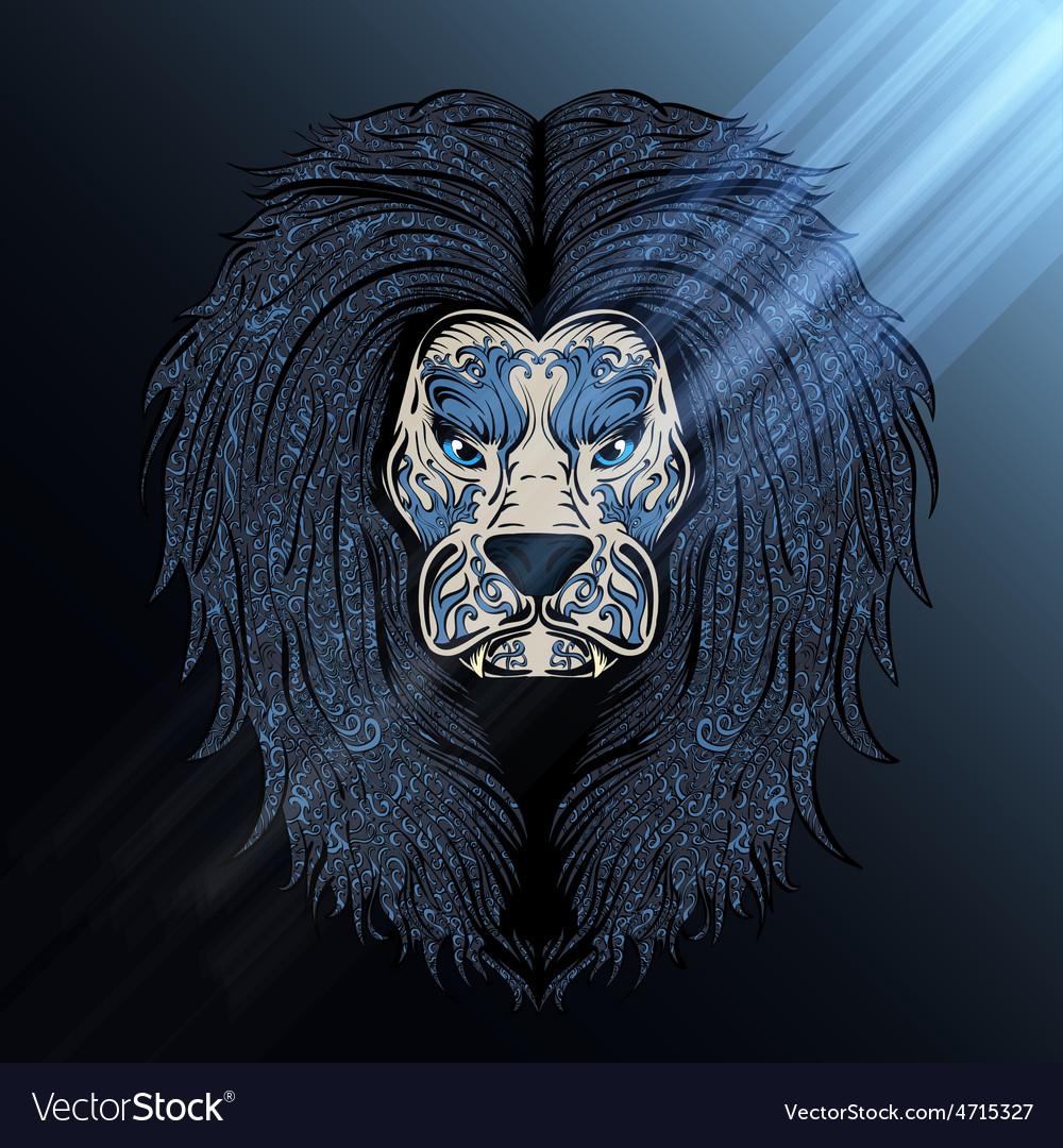 Lion blue moon vector | Price: 1 Credit (USD $1)