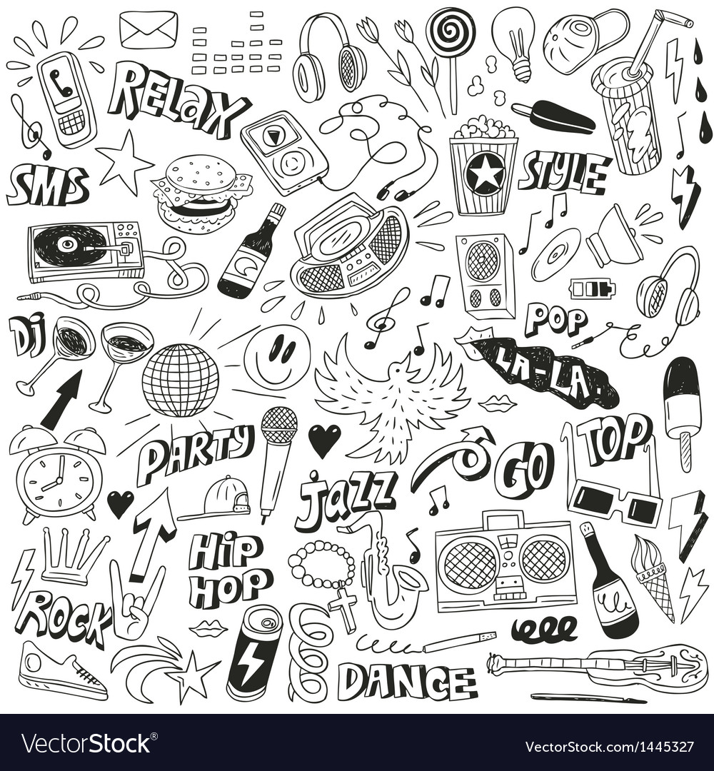 Music - doodles collection vector | Price: 1 Credit (USD $1)