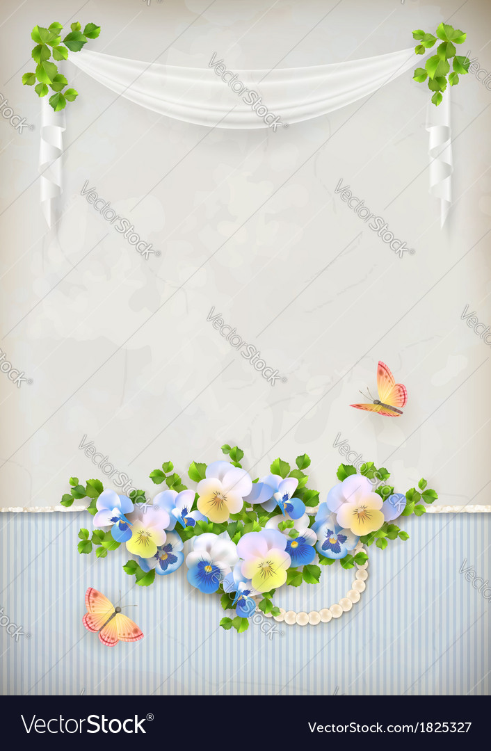 Shabby chic romantic flower vintage background vector | Price: 1 Credit (USD $1)