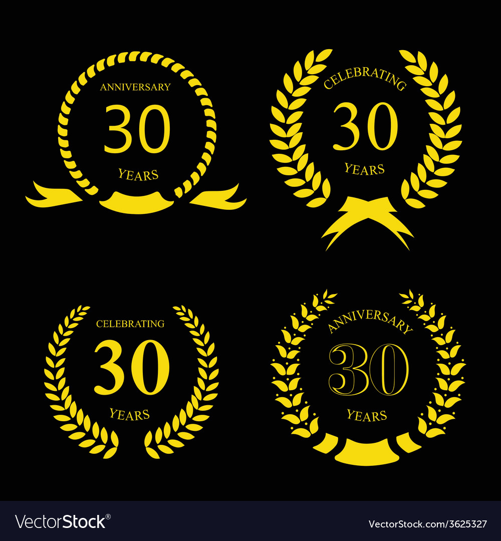 Thirty years anniversary laurel gold wreath set vector | Price: 1 Credit (USD $1)