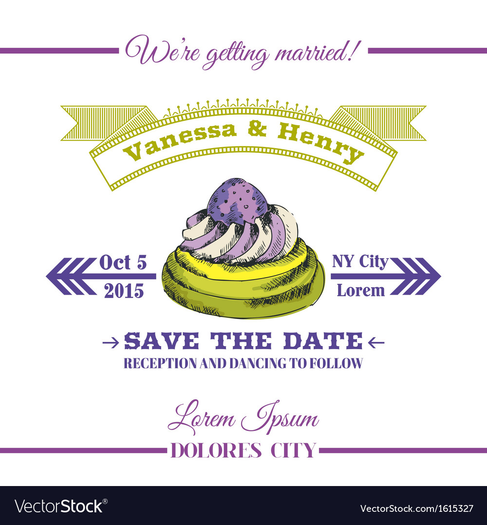 Wedding invitation card - dessert cake theme vector | Price: 1 Credit (USD $1)