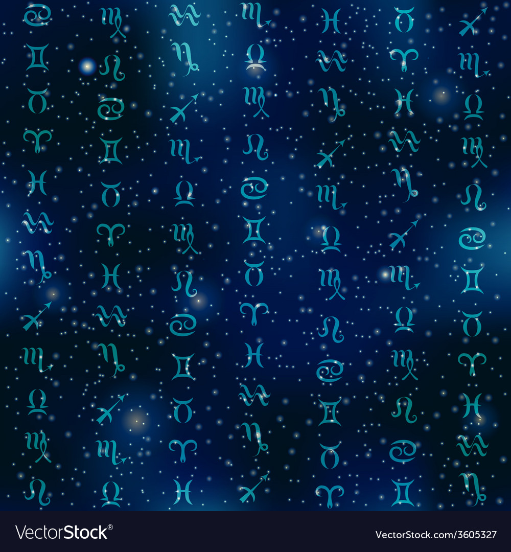 Zodiac symbols on space background vector | Price: 1 Credit (USD $1)