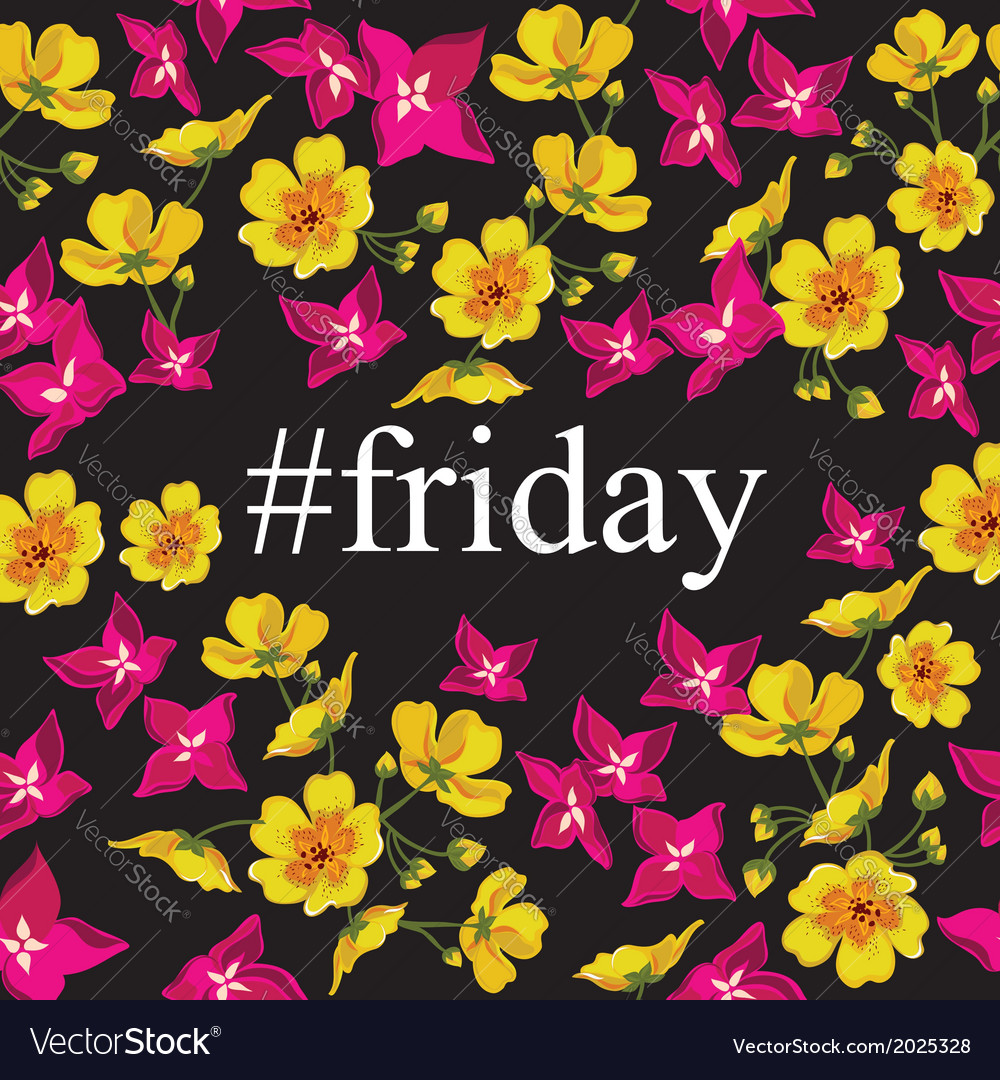 Abstract poster with tag friday floral background vector | Price: 1 Credit (USD $1)