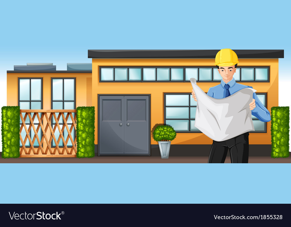 An engineer in front of a building vector | Price: 1 Credit (USD $1)