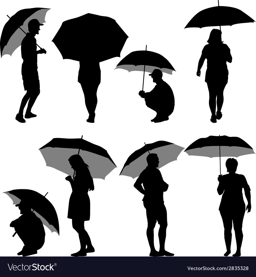 Black silhouettes man and woman under umbrella vector | Price: 1 Credit (USD $1)